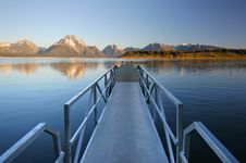 Teton Boat Docks At Sunrise Stock Photos