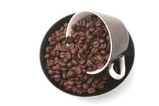 Free The Black Cup With Fragrant Coffee Costs Stock Images - 3844424