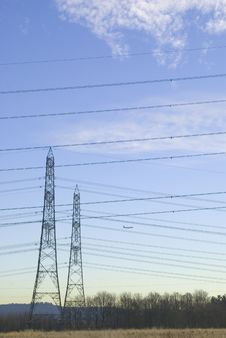 Free High Voltage Pylons Royalty Free Stock Photography - 3844607