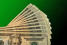Free Twenty Dollar Bills Fanned Out Royalty Free Stock Photography - 3845547