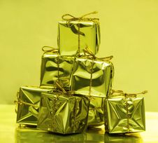 Free Stack Of Golden Gift Boxes Stock Photos - 3845603