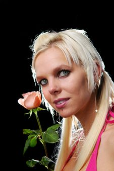 Free Portrait Of Blond With Rose Stock Photos - 3846983
