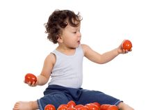 Free Child With Tomato. Royalty Free Stock Images - 3847569