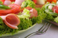 Free Fresh Salad With Onion Tomato And Basil Royalty Free Stock Photos - 3848208