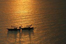 Free Two Boats On Golden Light Royalty Free Stock Photo - 3849065