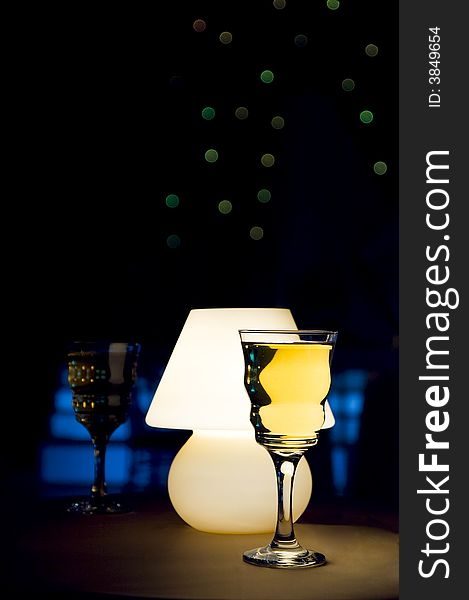 Wine glass and lamp