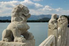 Carved White Marble Lions Stock Photos