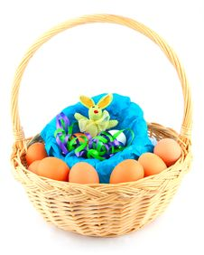 Free Easter Bunny In A Basket With Eggs Royalty Free Stock Images - 3854009