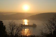 Free Ship On Bosphorus At Sunrise Stock Photography - 3854872