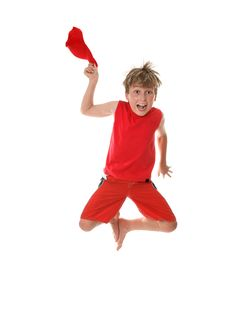 Free Boy With Zest For Life Leaping Royalty Free Stock Photography - 3855487