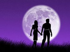 Free Couple In The Moon Stock Images - 3855744