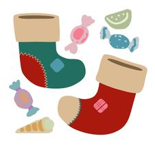 Free Christmas Stockings And Sweets Royalty Free Stock Photography - 3857467