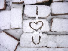 Bricks And Snow Stock Images