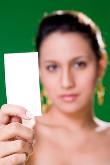 Free Girl With White Card Stock Image - 3858941