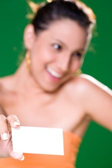 Free Girl With White Card Stock Photo - 3859020