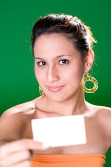 Free Girl With White Card Stock Photography - 3859072