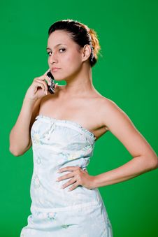 Free Beautiful Girl On The Phone Royalty Free Stock Image - 3859126