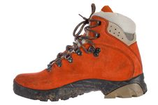 Free Single Red Trekking Boot From Side Stock Photos - 3859973