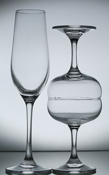 Free Empty Wine Glass On Gray Stock Image - 38562781