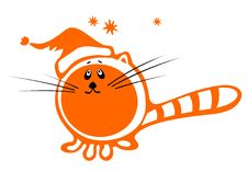 Red Christmas Cat Stock Images