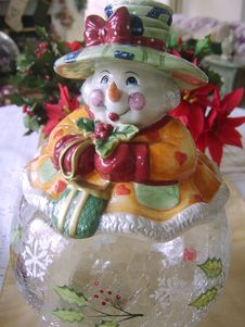 Christmas Snowman Cookie Jar Stock Images