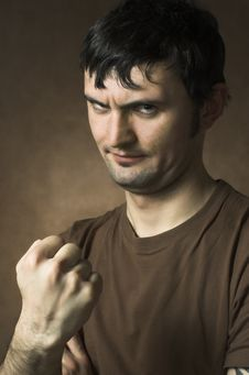 Free The Man Threatening By A Fist Royalty Free Stock Image - 3861986