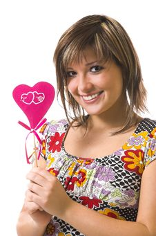 Free The Cheerful Girl And Heart Stock Photo - 3862170