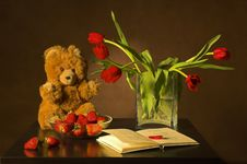 Free Tulips, The Book And Strawberry Stock Photography - 3862422