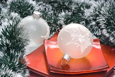 Christmas Balls In Plate Royalty Free Stock Images