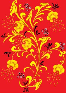 Free Yellow Flowers On Red Royalty Free Stock Photos - 3863008
