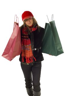 Free Woman With Shopping Bags Royalty Free Stock Photos - 3864218