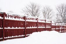 Free Red Fence In Snow Day Stock Image - 3864311