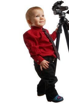 Child Keeping For A Photosupport Royalty Free Stock Photography