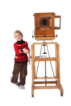 Free Boy And Obsolete Camera Stock Image - 3865461