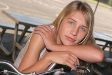 Free Young Girl Resting On Bike Stock Photos - 3866723