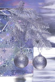 Christmas Balls With Package Stock Image