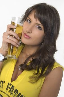 Free Pretty Girl Drinking Beer From The Glass Stock Photography - 3869212