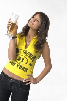 Free Pretty Girl Drinking Beer From The Glass Royalty Free Stock Photography - 3869297