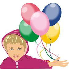 Free Child Holds Balloons In A Hand Stock Image - 3869901