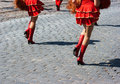 Free Cheerleaders Marching In City Street Royalty Free Stock Photography - 38643707