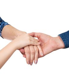 Hands Of Man, Woman And Girl Together Royalty Free Stock Image