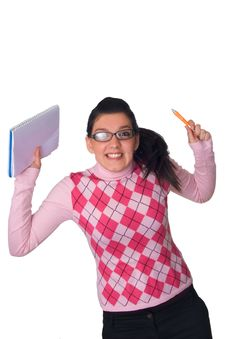 Free Girl Holding Notebook Royalty Free Stock Photo - 3870075