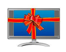 Free Computer Monitor With Ribbon Royalty Free Stock Photography - 3874267