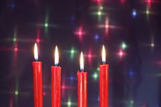 Free Christmas Red Candles Stock Images - 3875814