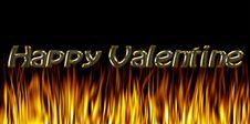 Burning Fire Of Love: Happy Valentine Royalty Free Stock Photo