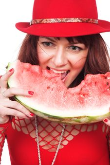 Free The Beautiful Girl Eats A Water-melon Stock Photography - 3878352