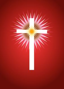 Free Cross With Radiating Light Behind Royalty Free Stock Photography - 3878727