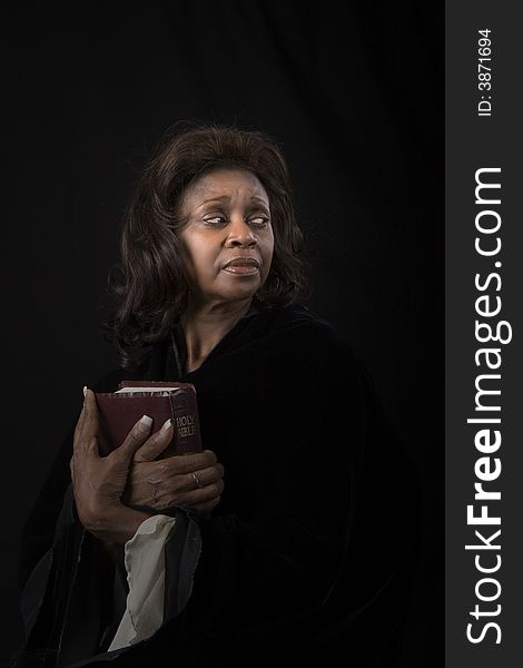 Woman with Bible Looking Left