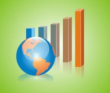 Graph And American Globe Royalty Free Stock Images