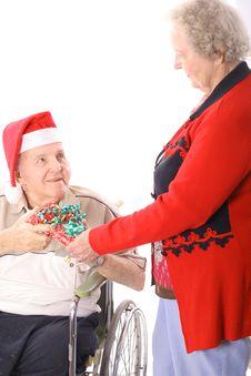 Free Elderly Couple Christmas Royalty Free Stock Photography - 3883507